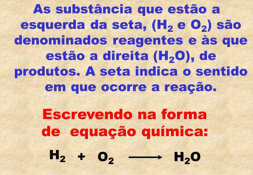 Escrevendo na forma de equação química: