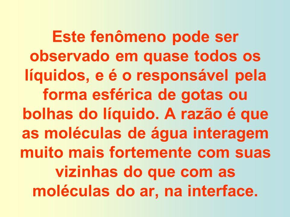Este fenômeno pode ser observado em quase todos os líquidos, e é o responsável pela forma esférica de gotas ou bolhas do líquido.