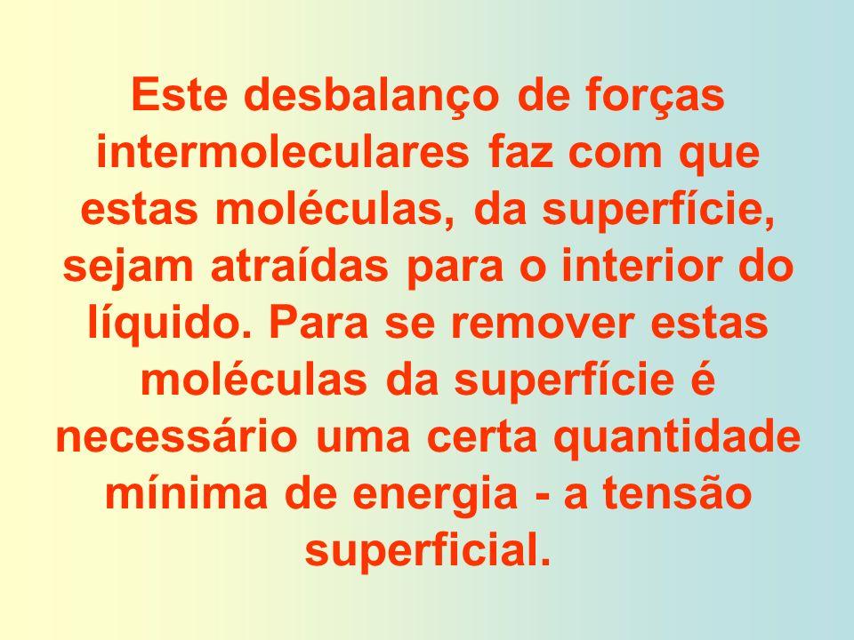 Este desbalanço de forças intermoleculares faz com que estas moléculas, da superfície, sejam atraídas para o interior do líquido.