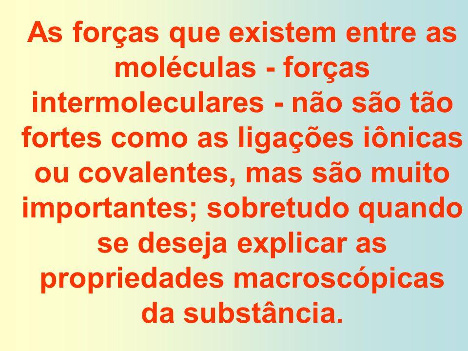 As forças que existem entre as moléculas - forças intermoleculares - não são tão fortes como as ligações iônicas ou covalentes, mas são muito importantes; sobretudo quando se deseja explicar as propriedades macroscópicas da substância.
