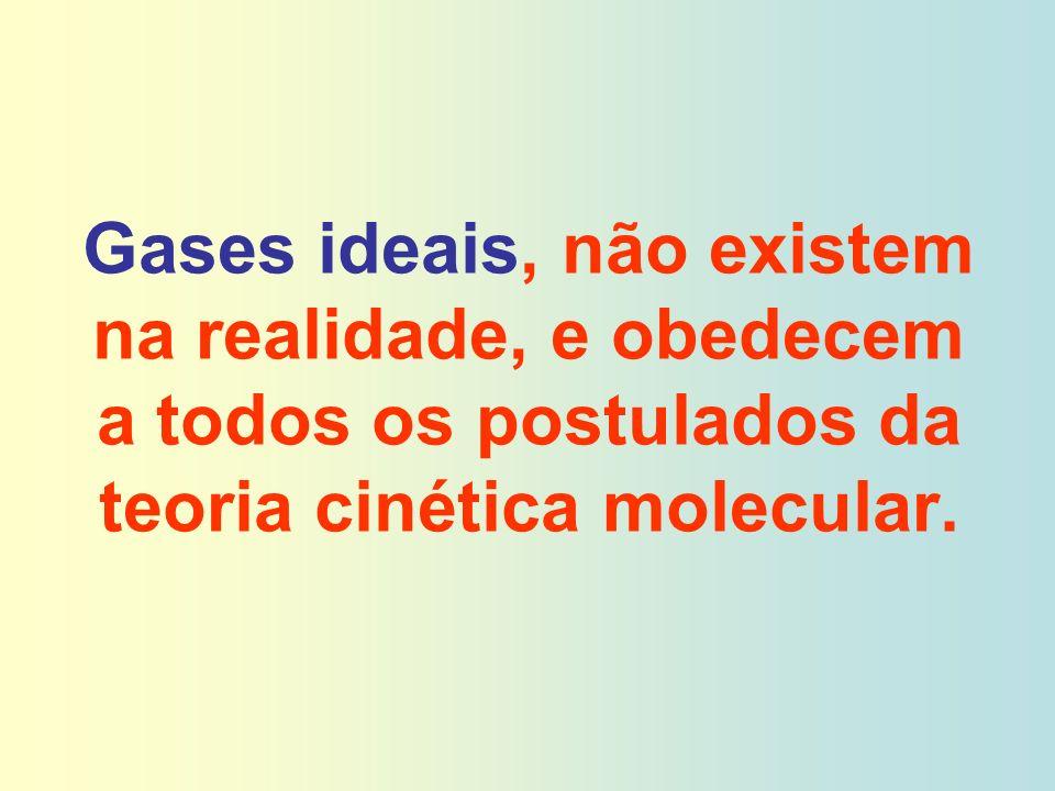 Gases ideais, não existem na realidade, e obedecem a todos os postulados da teoria cinética molecular.