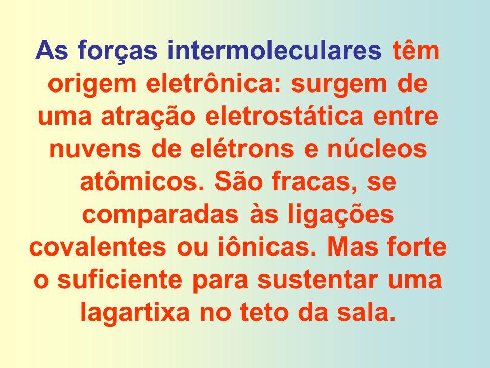 As forças intermoleculares têm origem eletrônica: surgem de uma atração eletrostática entre nuvens de elétrons e núcleos atômicos.