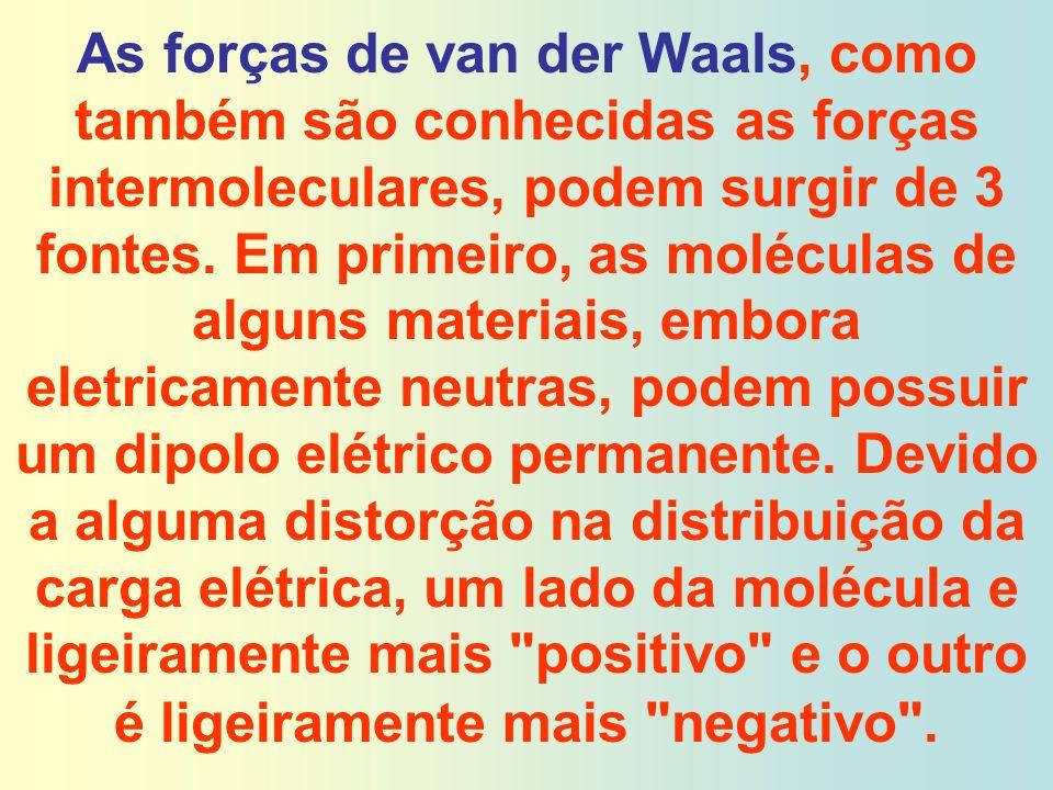 As forças de van der Waals, como também são conhecidas as forças intermoleculares, podem surgir de 3 fontes.