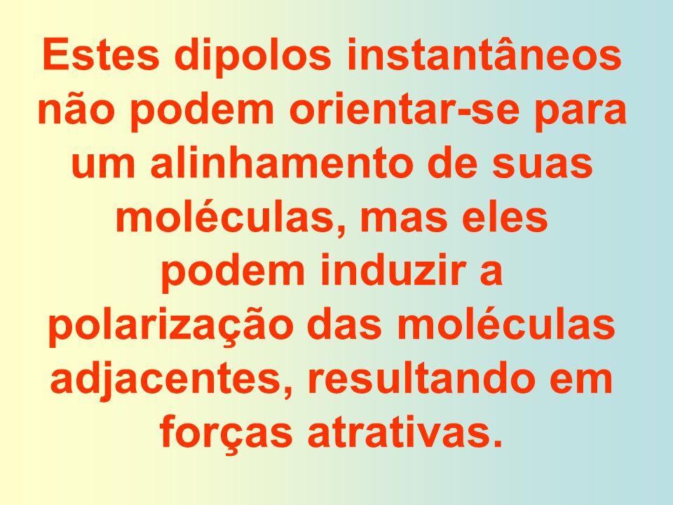Estes dipolos instantâneos não podem orientar-se para um alinhamento de suas moléculas, mas eles podem induzir a polarização das moléculas adjacentes, resultando em forças atrativas.