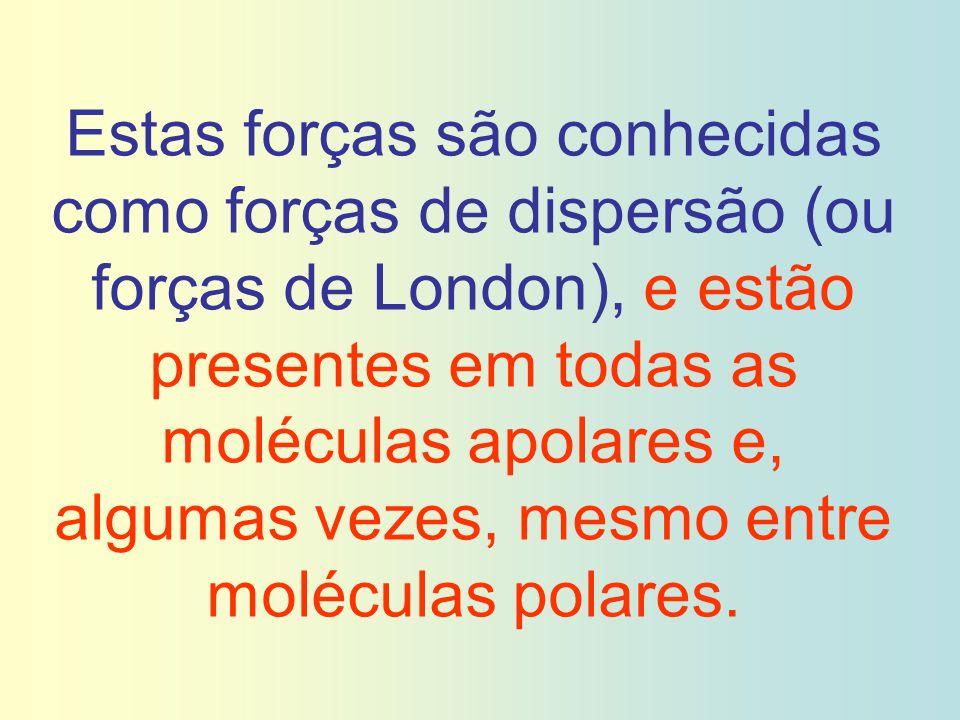 Estas forças são conhecidas como forças de dispersão (ou forças de London), e estão presentes em todas as moléculas apolares e, algumas vezes, mesmo entre moléculas polares.