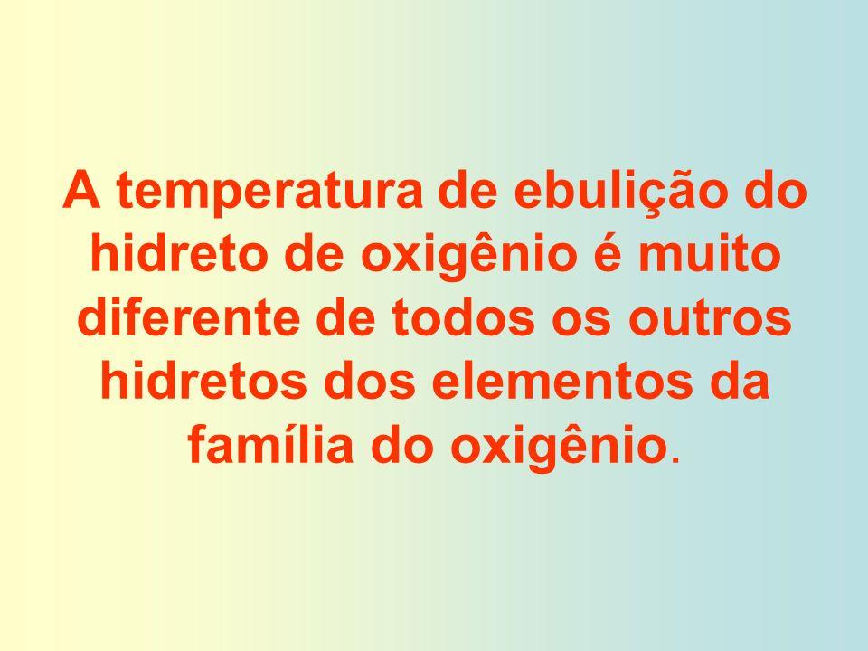 A temperatura de ebulição do hidreto de oxigênio é muito diferente de todos os outros hidretos dos elementos da família do oxigênio.