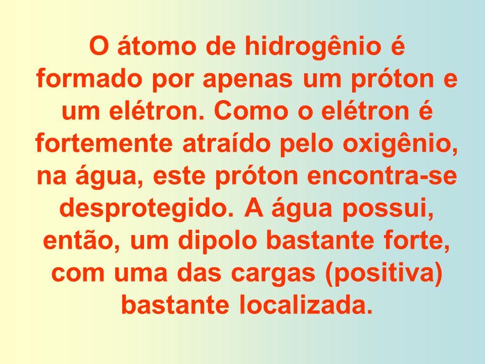 O átomo de hidrogênio é formado por apenas um próton e um elétron