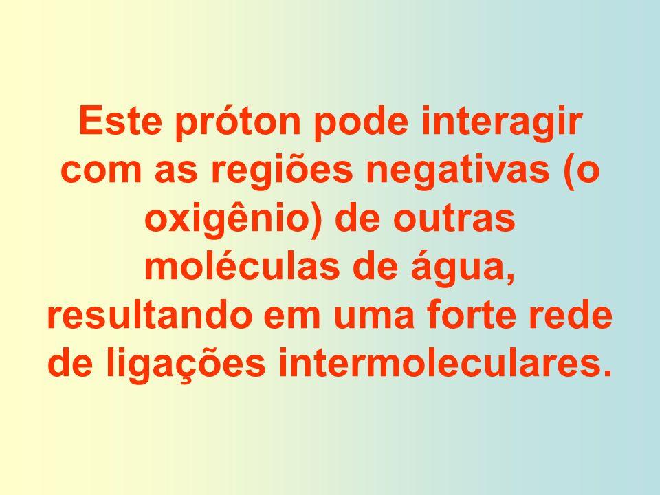 Este próton pode interagir com as regiões negativas (o oxigênio) de outras moléculas de água, resultando em uma forte rede de ligações intermoleculares.