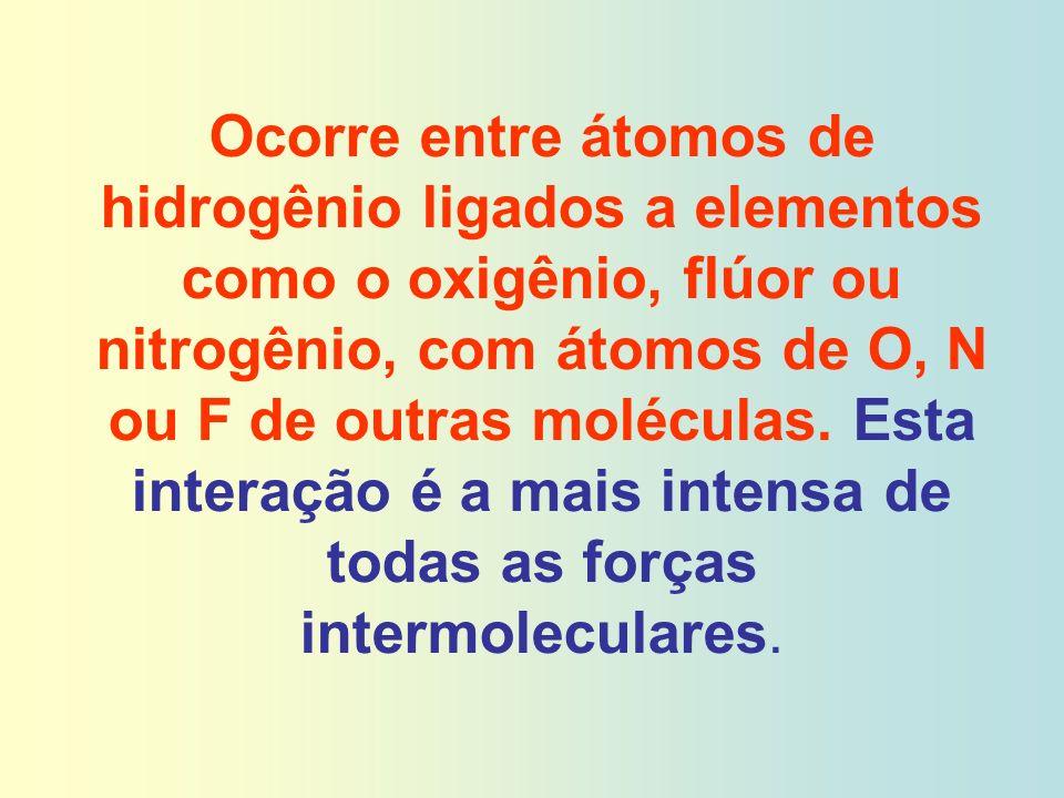 Ocorre entre átomos de hidrogênio ligados a elementos como o oxigênio, flúor ou nitrogênio, com átomos de O, N ou F de outras moléculas.