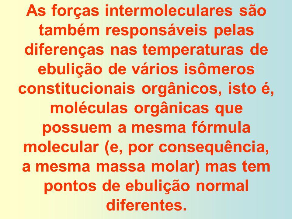 As forças intermoleculares são também responsáveis pelas diferenças nas temperaturas de ebulição de vários isômeros constitucionais orgânicos, isto é, moléculas orgânicas que possuem a mesma fórmula molecular (e, por consequência, a mesma massa molar) mas tem pontos de ebulição normal diferentes.