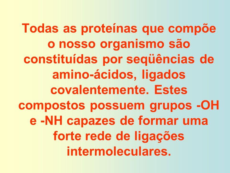 Todas as proteínas que compõe o nosso organismo são constituídas por seqüências de amino-ácidos, ligados covalentemente.