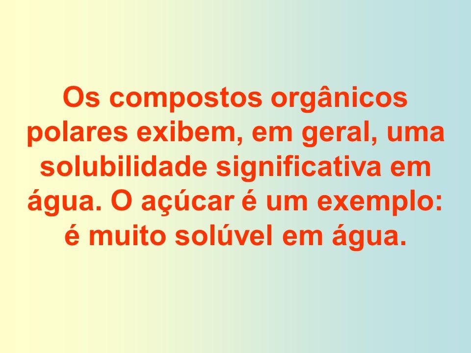 Os compostos orgânicos polares exibem, em geral, uma solubilidade significativa em água.