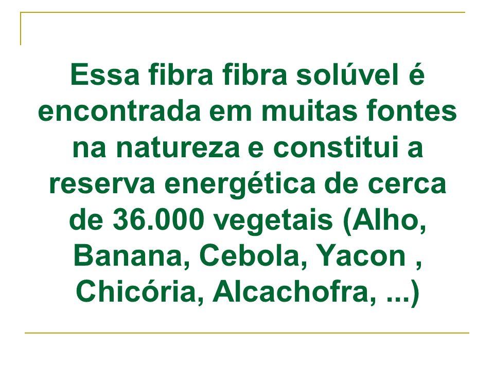 Essa fibra fibra solúvel é encontrada em muitas fontes na natureza e constitui a reserva energética de cerca de 36.000 vegetais (Alho, Banana, Cebola, Yacon , Chicória, Alcachofra, ...)