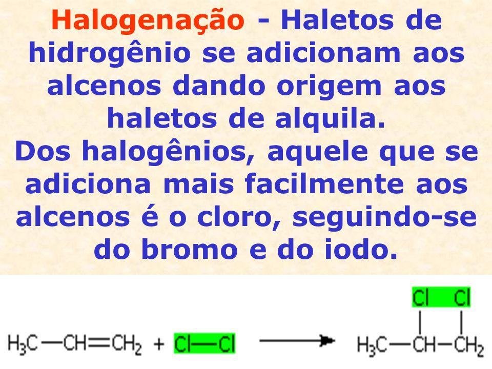 Halogenação - Haletos de hidrogênio se adicionam aos alcenos dando origem aos haletos de alquila.