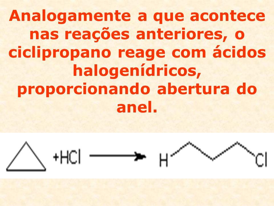 Analogamente a que acontece nas reações anteriores, o ciclipropano reage com ácidos halogenídricos, proporcionando abertura do anel.