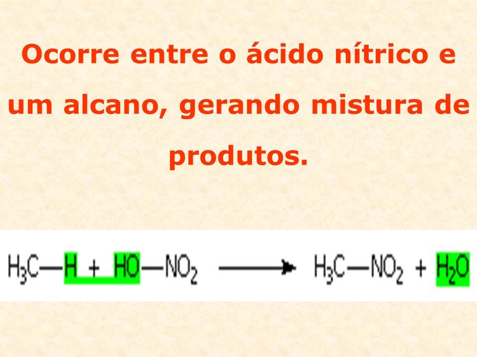 Ocorre entre o ácido nítrico e um alcano, gerando mistura de produtos.