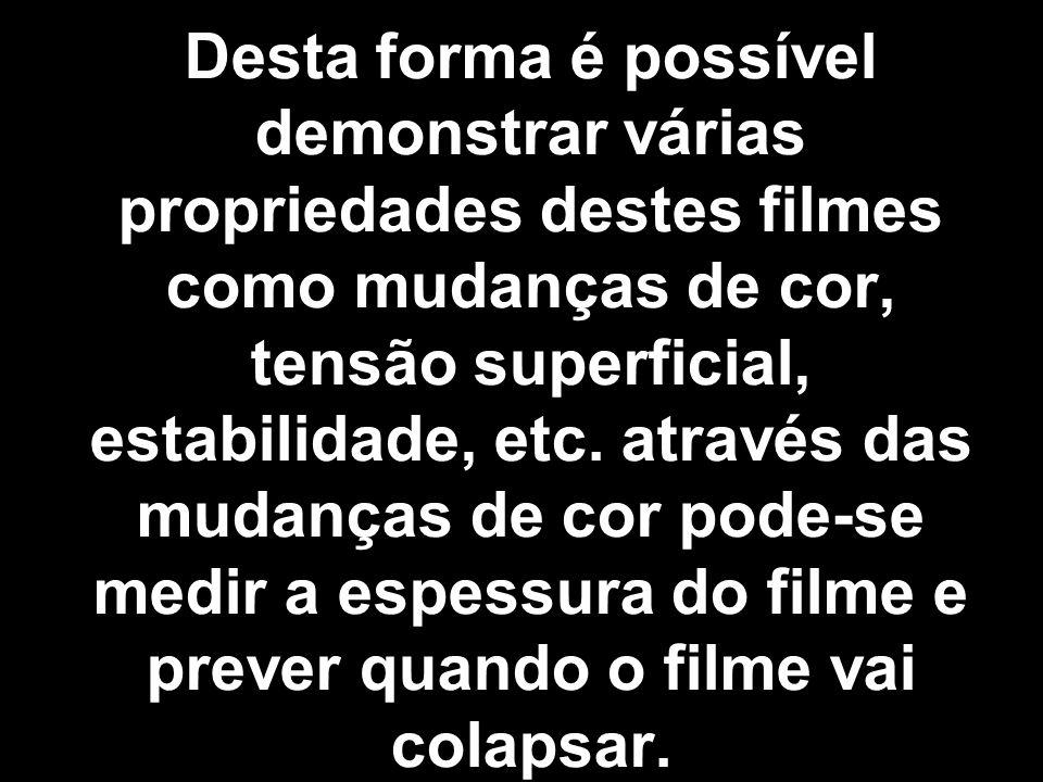 Desta forma é possível demonstrar várias propriedades destes filmes como mudanças de cor, tensão superficial, estabilidade, etc.