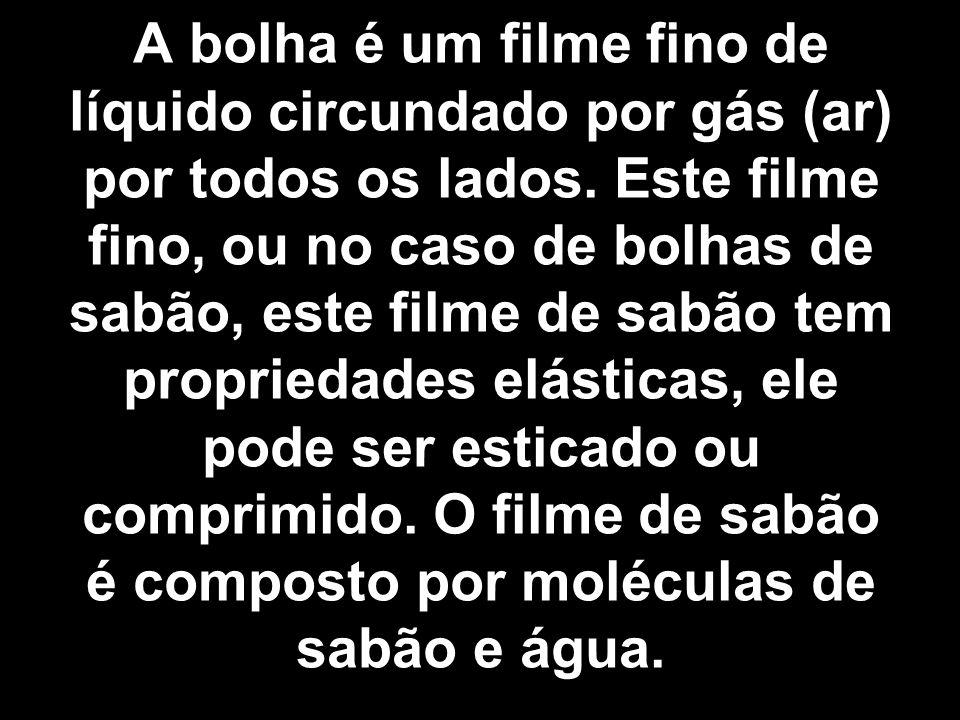 A bolha é um filme fino de líquido circundado por gás (ar) por todos os lados.