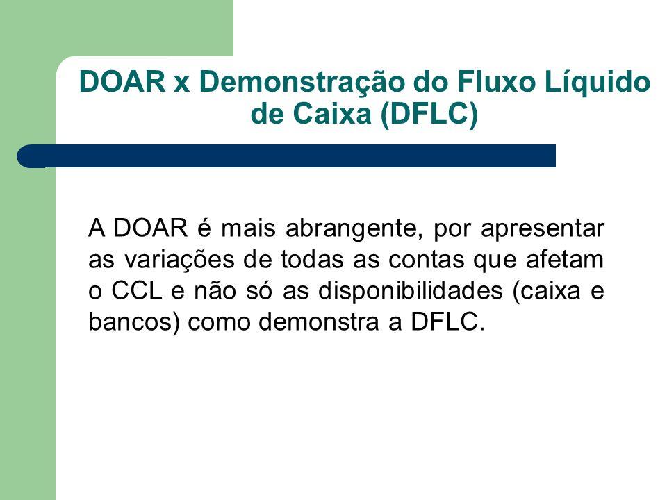 DOAR x Demonstração do Fluxo Líquido de Caixa (DFLC)