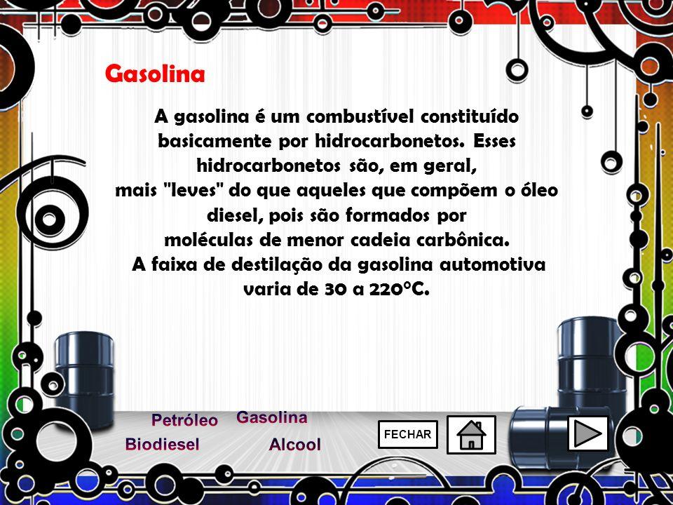 Gasolina A gasolina é um combustível constituído basicamente por hidrocarbonetos. Esses hidrocarbonetos são, em geral,