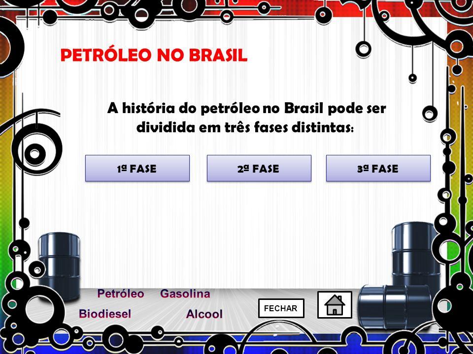 PETRÓLEO NO BRASIL A história do petróleo no Brasil pode ser dividida em três fases distintas: 1ª FASE.