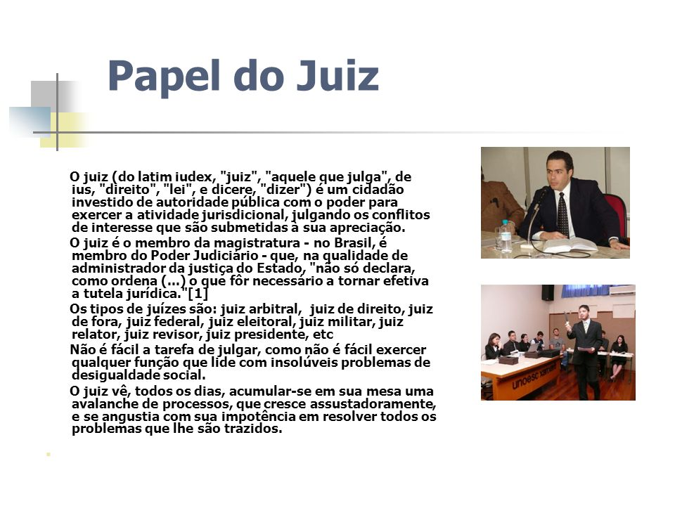Papel do Juiz