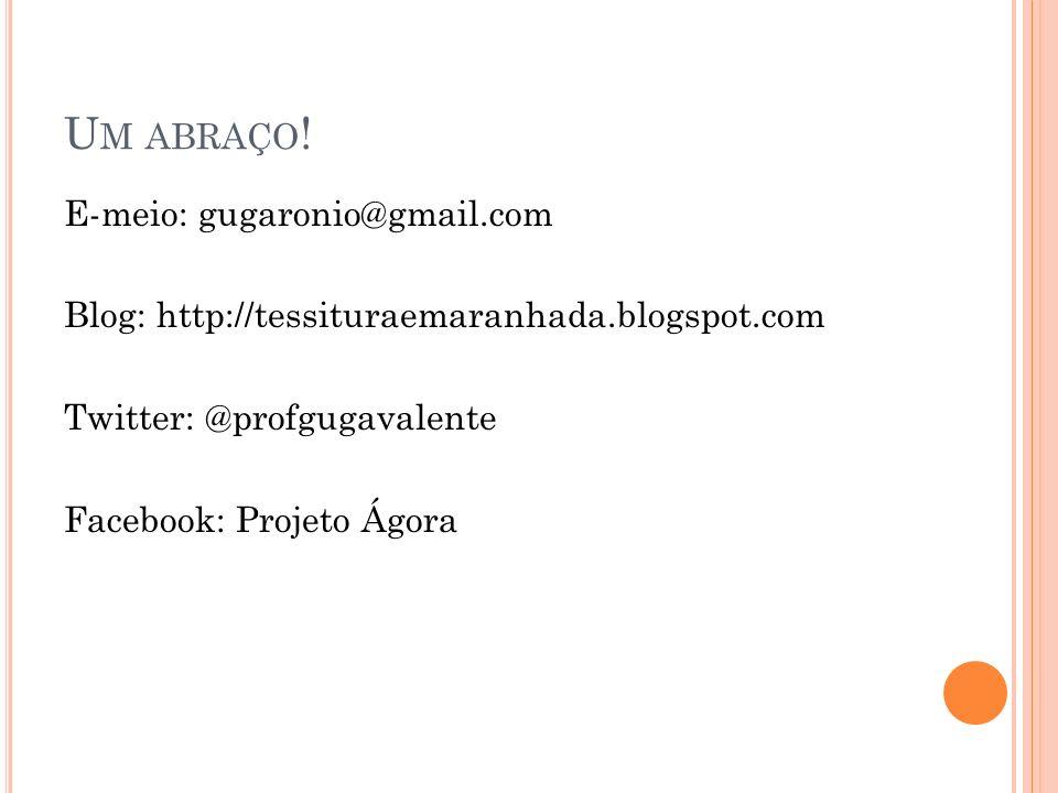 Um abraço!E-meio: gugaronio@gmail.com Blog: http://tessituraemaranhada.blogspot.com Twitter: @profgugavalente Facebook: Projeto Ágora