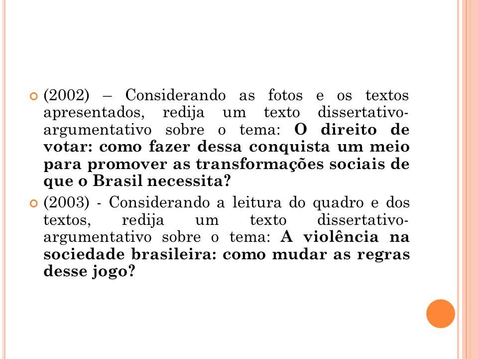 (2002) – Considerando as fotos e os textos apresentados, redija um texto dissertativo- argumentativo sobre o tema: O direito de votar: como fazer dessa conquista um meio para promover as transformações sociais de que o Brasil necessita