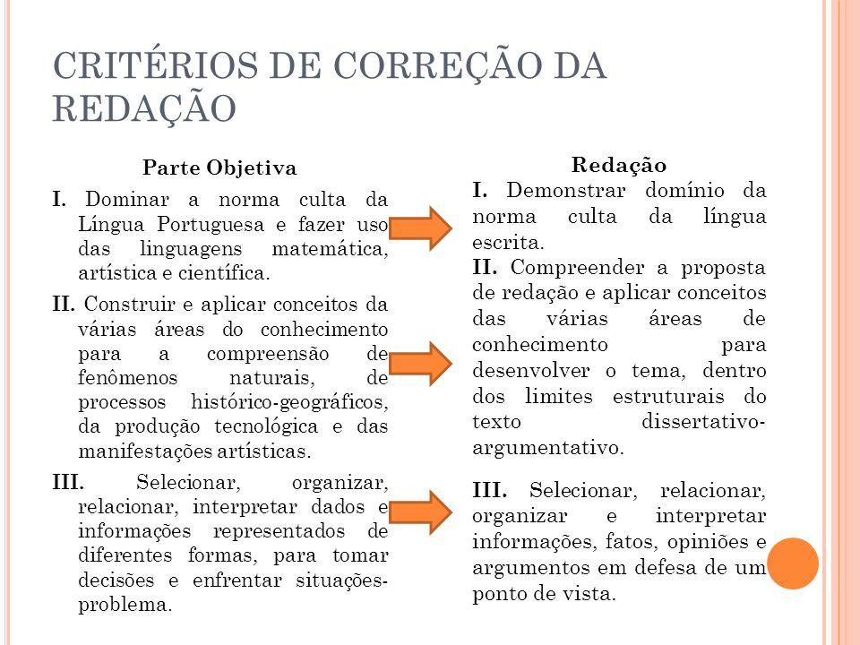 CRITÉRIOS DE CORREÇÃO DA REDAÇÃO