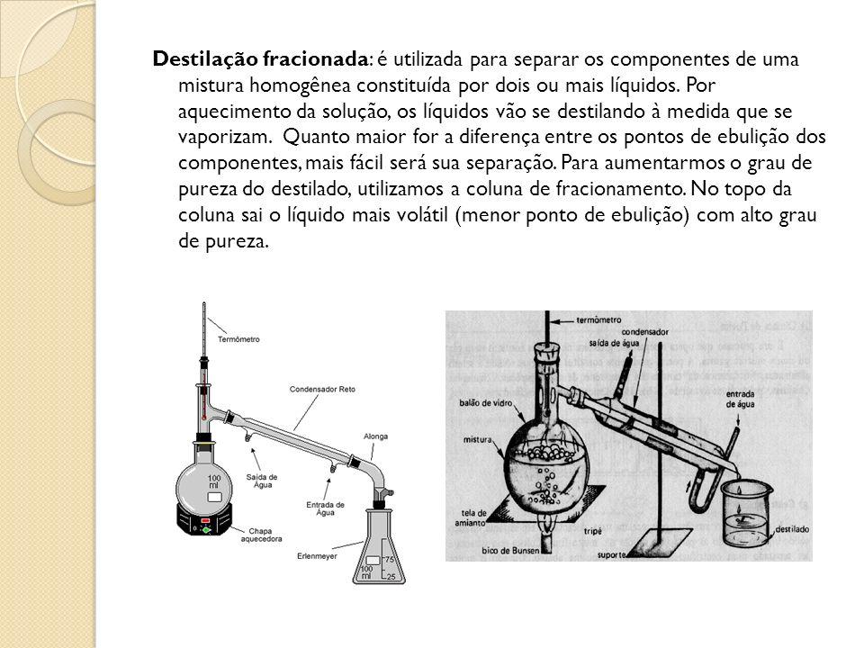 Destilação fracionada: é utilizada para separar os componentes de uma mistura homogênea constituída por dois ou mais líquidos.