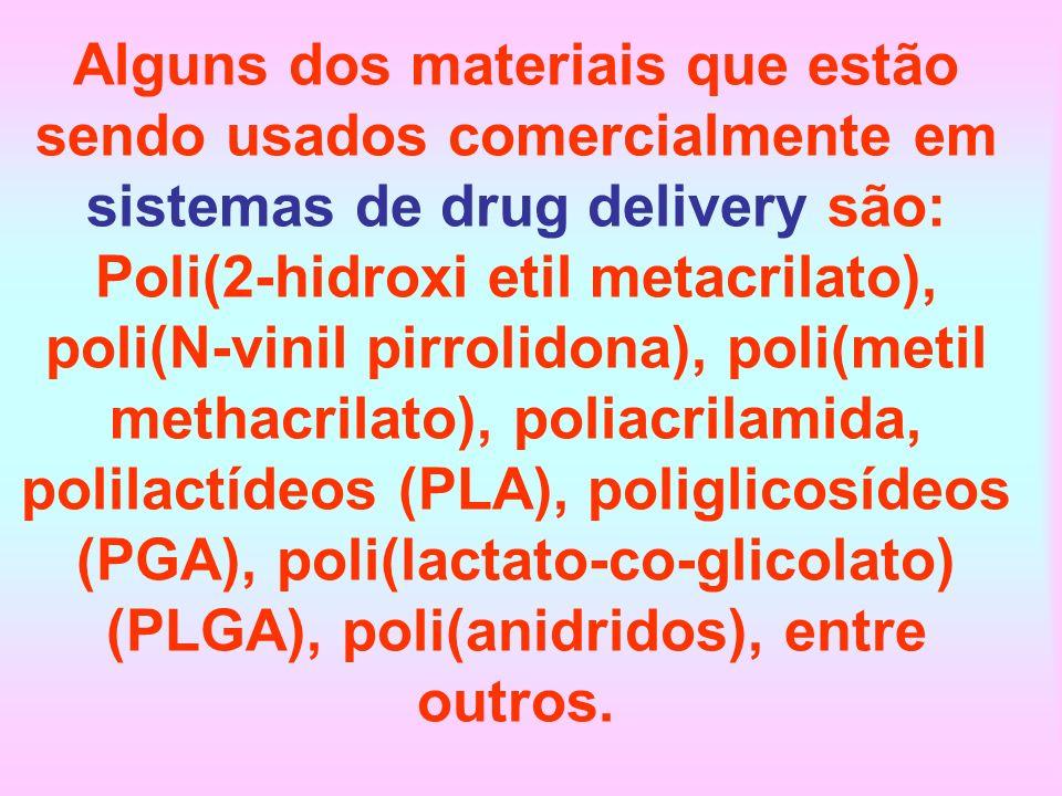 Alguns dos materiais que estão sendo usados comercialmente em sistemas de drug delivery são: Poli(2-hidroxi etil metacrilato), poli(N-vinil pirrolidona), poli(metil methacrilato), poliacrilamida, polilactídeos (PLA), poliglicosídeos (PGA), poli(lactato-co-glicolato) (PLGA), poli(anidridos), entre outros.