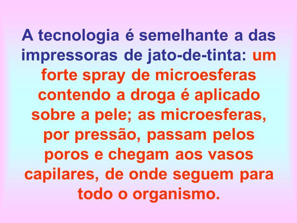 A tecnologia é semelhante a das impressoras de jato-de-tinta: um forte spray de microesferas contendo a droga é aplicado sobre a pele; as microesferas, por pressão, passam pelos poros e chegam aos vasos capilares, de onde seguem para todo o organismo.