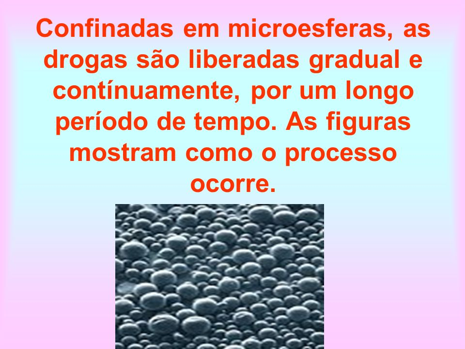 Confinadas em microesferas, as drogas são liberadas gradual e contínuamente, por um longo período de tempo.