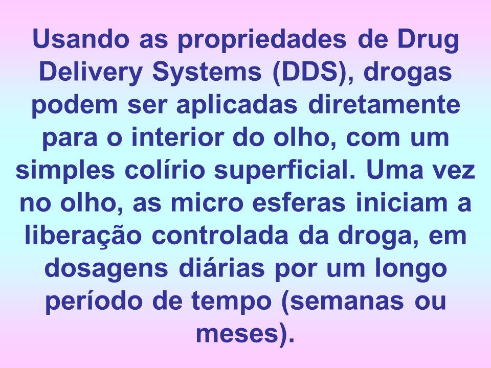 Usando as propriedades de Drug Delivery Systems (DDS), drogas podem ser aplicadas diretamente para o interior do olho, com um simples colírio superficial.