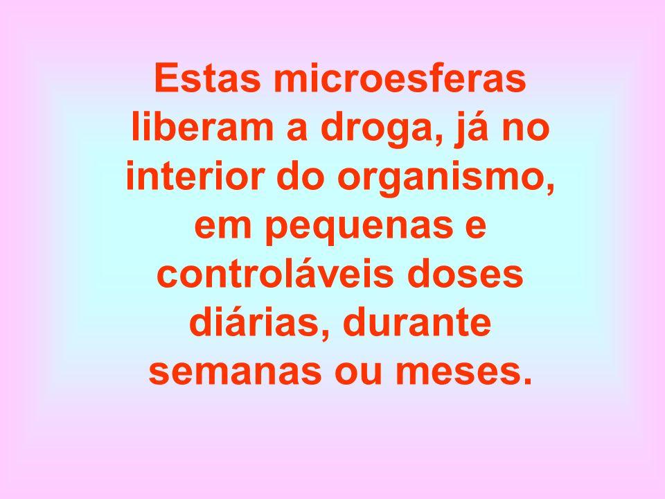 Estas microesferas liberam a droga, já no interior do organismo, em pequenas e controláveis doses diárias, durante semanas ou meses.