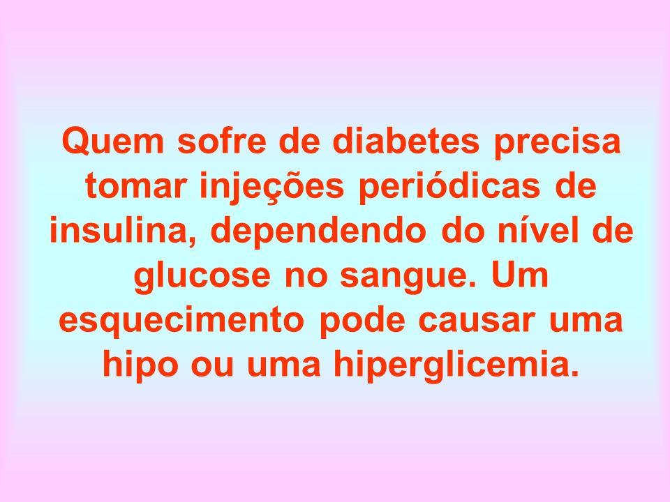 Quem sofre de diabetes precisa tomar injeções periódicas de insulina, dependendo do nível de glucose no sangue.