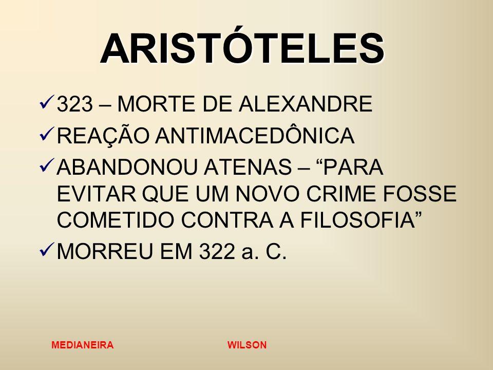 ARISTÓTELES 323 – MORTE DE ALEXANDRE REAÇÃO ANTIMACEDÔNICA