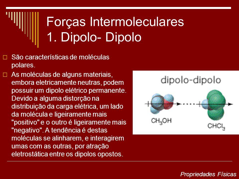 Forças Intermoleculares 1. Dipolo- Dipolo