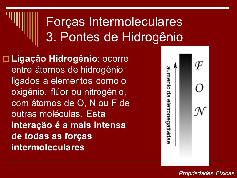 Forças Intermoleculares 3. Pontes de Hidrogênio