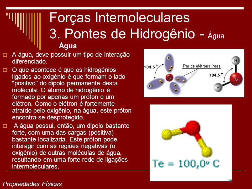 Forças Intemoleculares 3. Pontes de Hidrogênio - Água