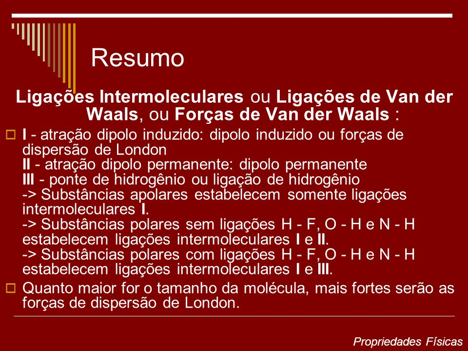 Resumo Ligações Intermoleculares ou Ligações de Van der Waals, ou Forças de Van der Waals :
