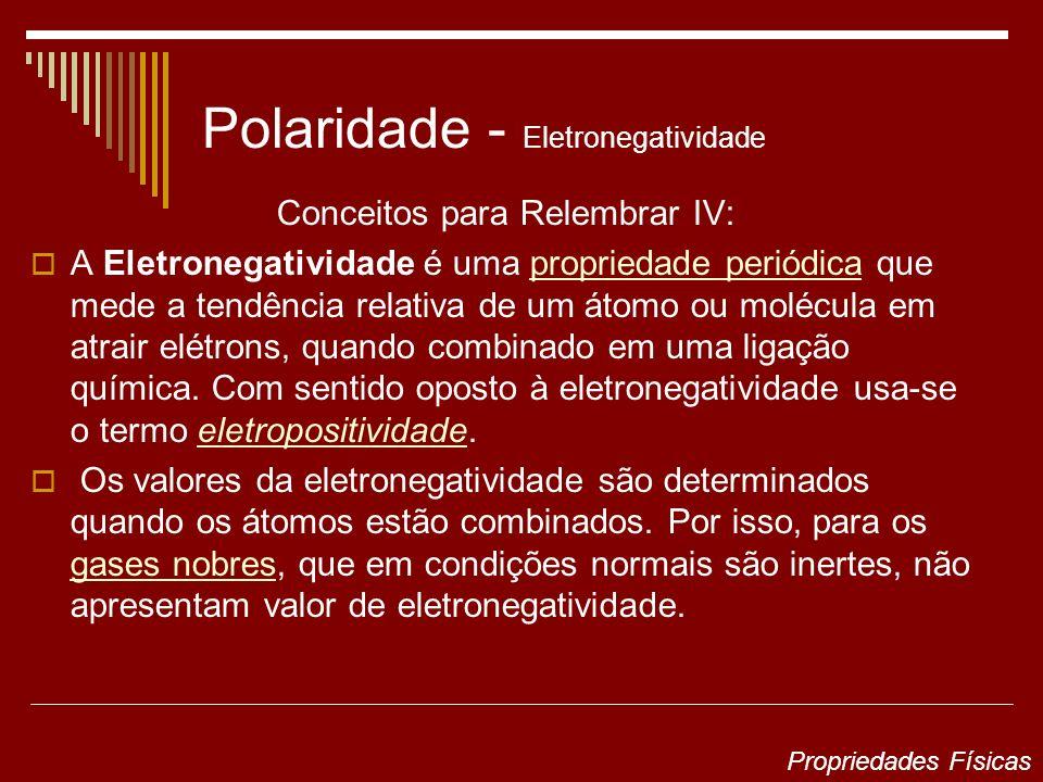 Polaridade - Eletronegatividade