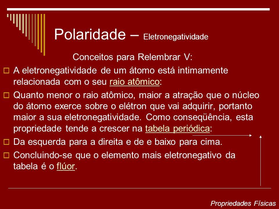 Polaridade – Eletronegatividade