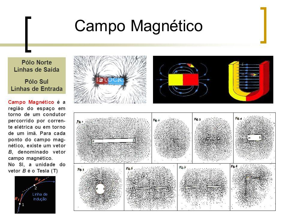 Campo Magnético Pólo Norte Linhas de Saída Pólo Sul Linhas de Entrada