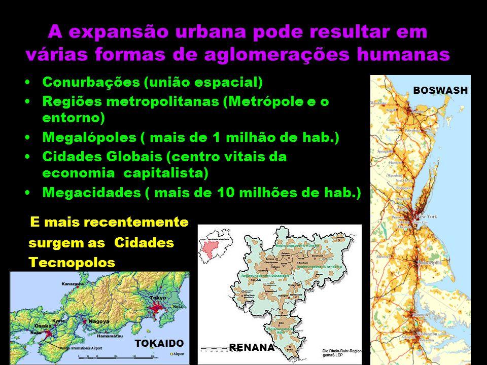 A expansão urbana pode resultar em várias formas de aglomerações humanas