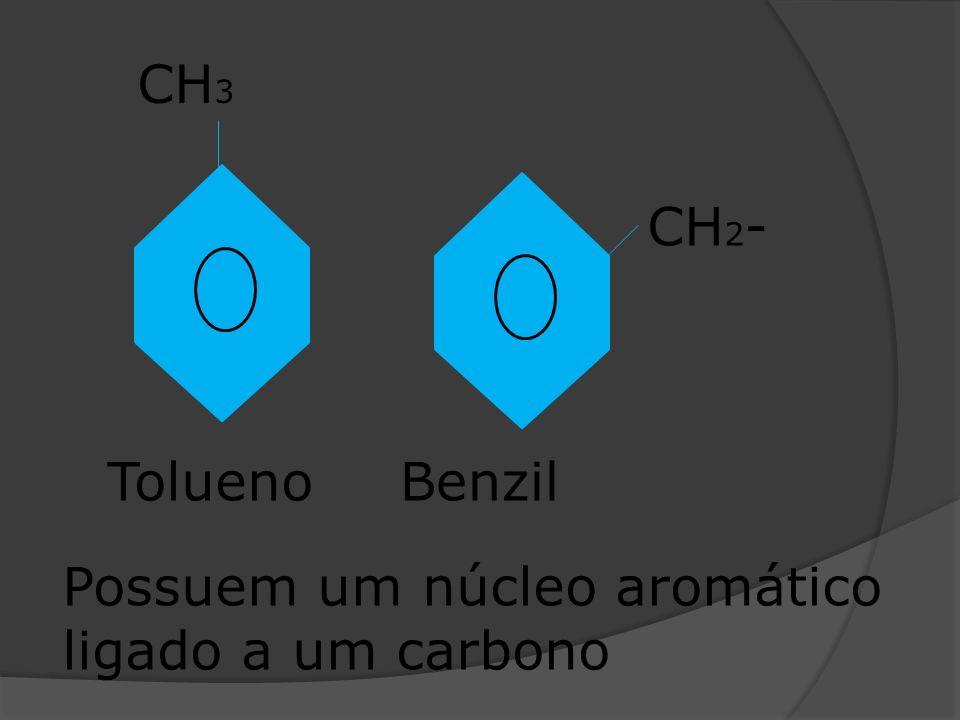 CH3 CH2- Tolueno Benzil Possuem um núcleo aromático ligado a um carbono
