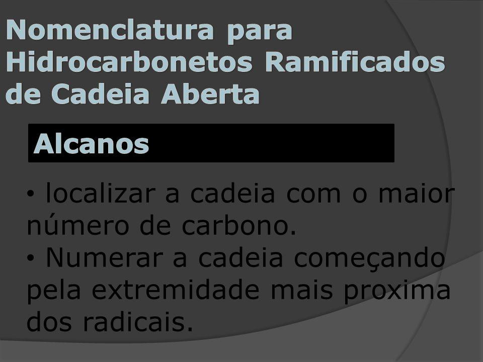 Nomenclatura para Hidrocarbonetos Ramificados de Cadeia Aberta