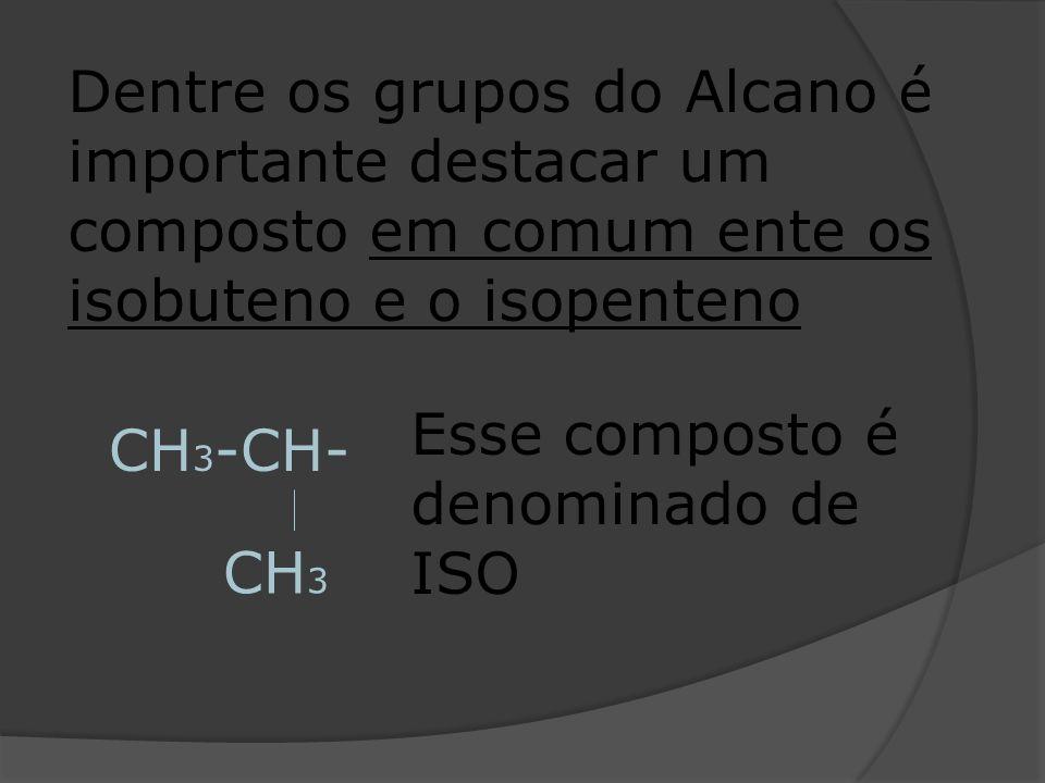 Dentre os grupos do Alcano é importante destacar um composto em comum ente os isobuteno e o isopenteno