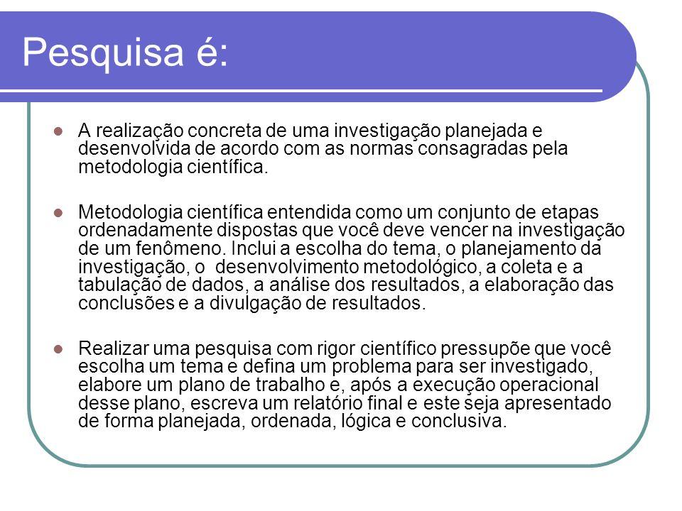 Pesquisa é: A realização concreta de uma investigação planejada e desenvolvida de acordo com as normas consagradas pela metodologia científica.