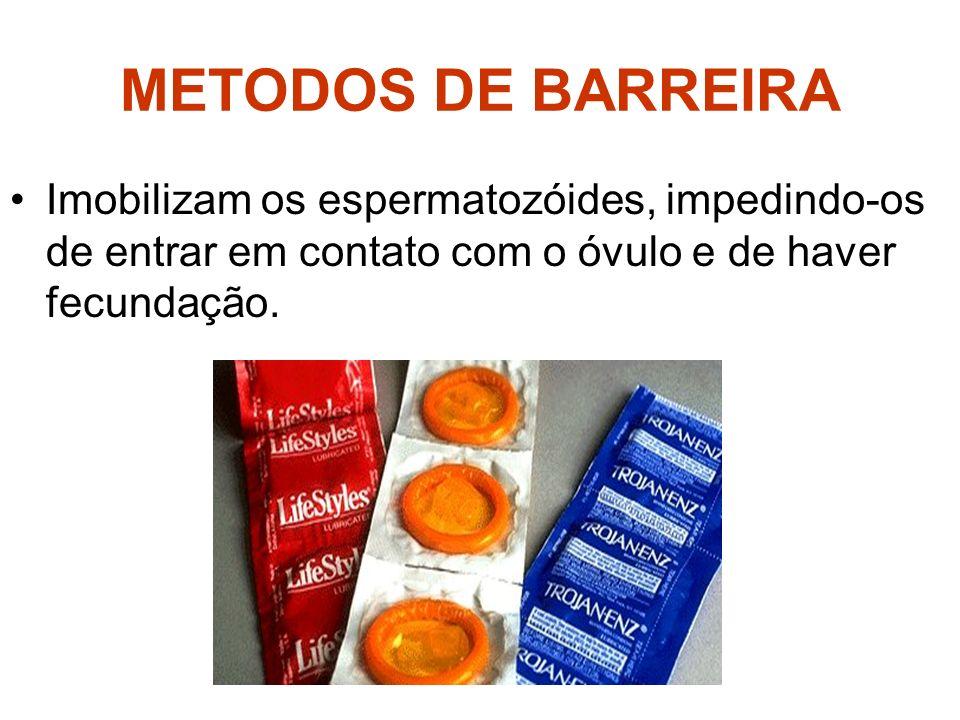 METODOS DE BARREIRA Imobilizam os espermatozóides, impedindo-os de entrar em contato com o óvulo e de haver fecundação.